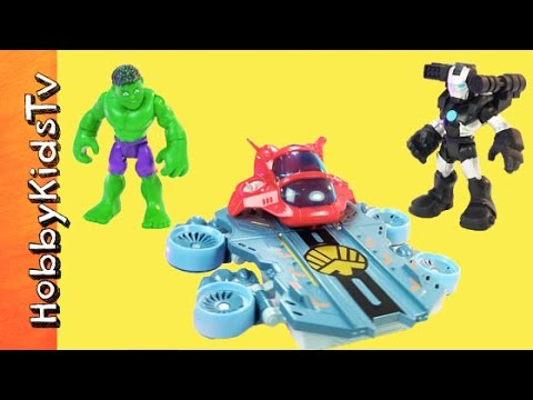 Hulk War Machine Helicarrier 4 in 1 Hulk-Buster! Playskool Hasbro by HobbyKidsTV