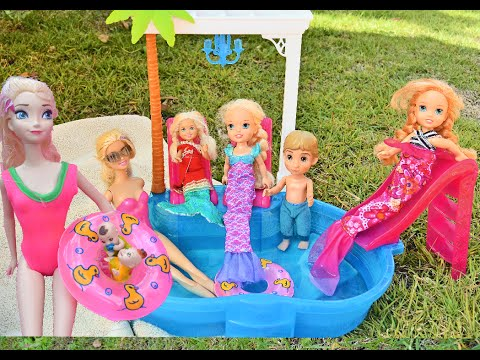 Barbie Pool Party Chelsea Mermaid Glam Pool Party - Annia and Elsia Toddlers Twins Toys In Action