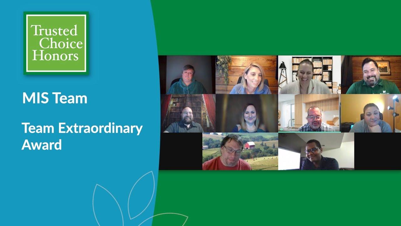 2020 Trusted Choice Team Extraordinary Award - MIS Team | McFarland Clinic