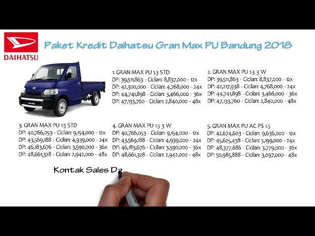 Kredit Daihatsu Gran Max PU Bandung Oktober 2018 | 082127725181