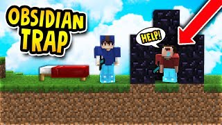 HILARIOUS OBSIDIAN TRAP! (Minecraft Bed Wars Trolling)