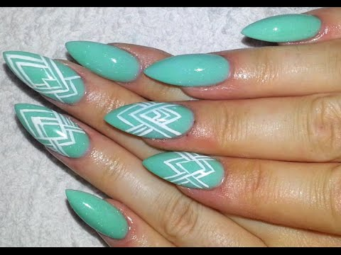 Easy Mint Green And White Graphic Pattern + Almond Shaped Acrylic Nail  Design