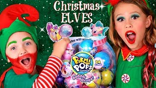 Christmas Elves Makeup and Costumes! Pikmi Pops Bubble Drops Toys for Santa