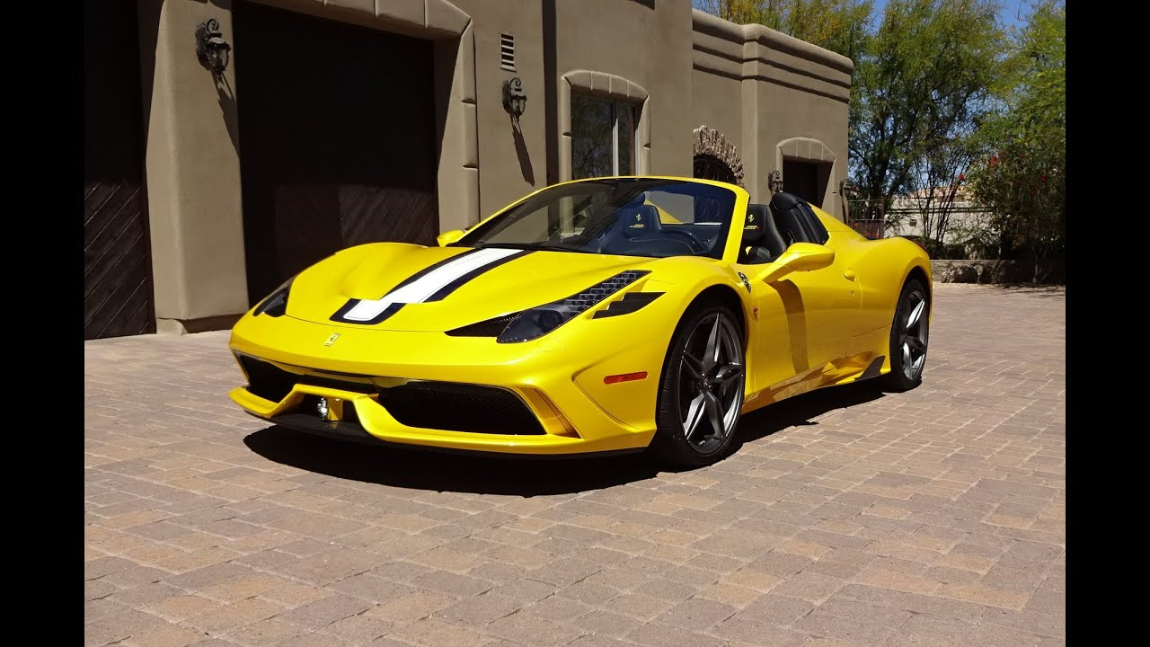 2015 Ferrari 458 Speciale A in Yellow with Engine Start Up & Ride on