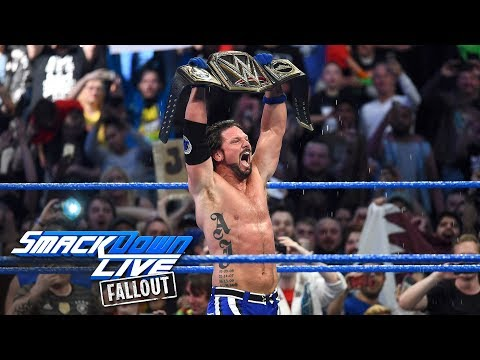 Styles celebrates his WWE Title victory with the WWE Universe: SmackDown LIVE Fallout, Nov. 7, 2017