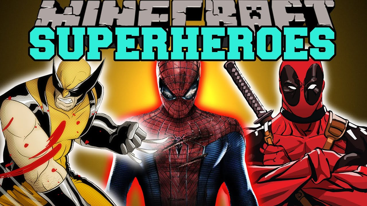 minecraft  superheroes  spiderman  wolverine  deadpool   u0026 more   mod showcase