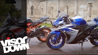ktm rc 390 vs yamaha r3   visordown back to back test