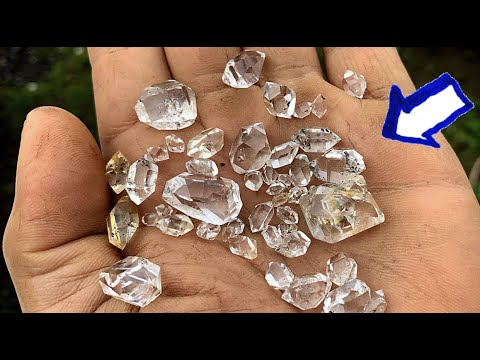 Herkimer Diamond Mining At The Ace   New York   WATER CLEAR Quartz Crystals!