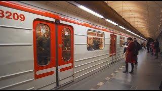 Czech Republic, Prague, metro ride from Karlovo náměstí to Můstek, 5X escalator