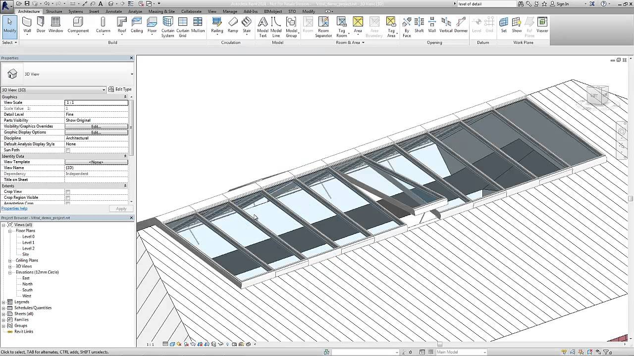 Vitral A74 Roof Glazing As Bim Object For Revit Youtube