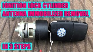 How to remove ignition lock cylinder-immobilizer antenna VW Golf Mk4, Bora, Passat, Skoda