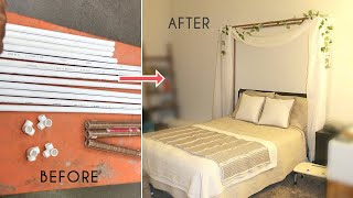 DIY Faux Wood PVC Pipes Bed Canopy - Only $35!