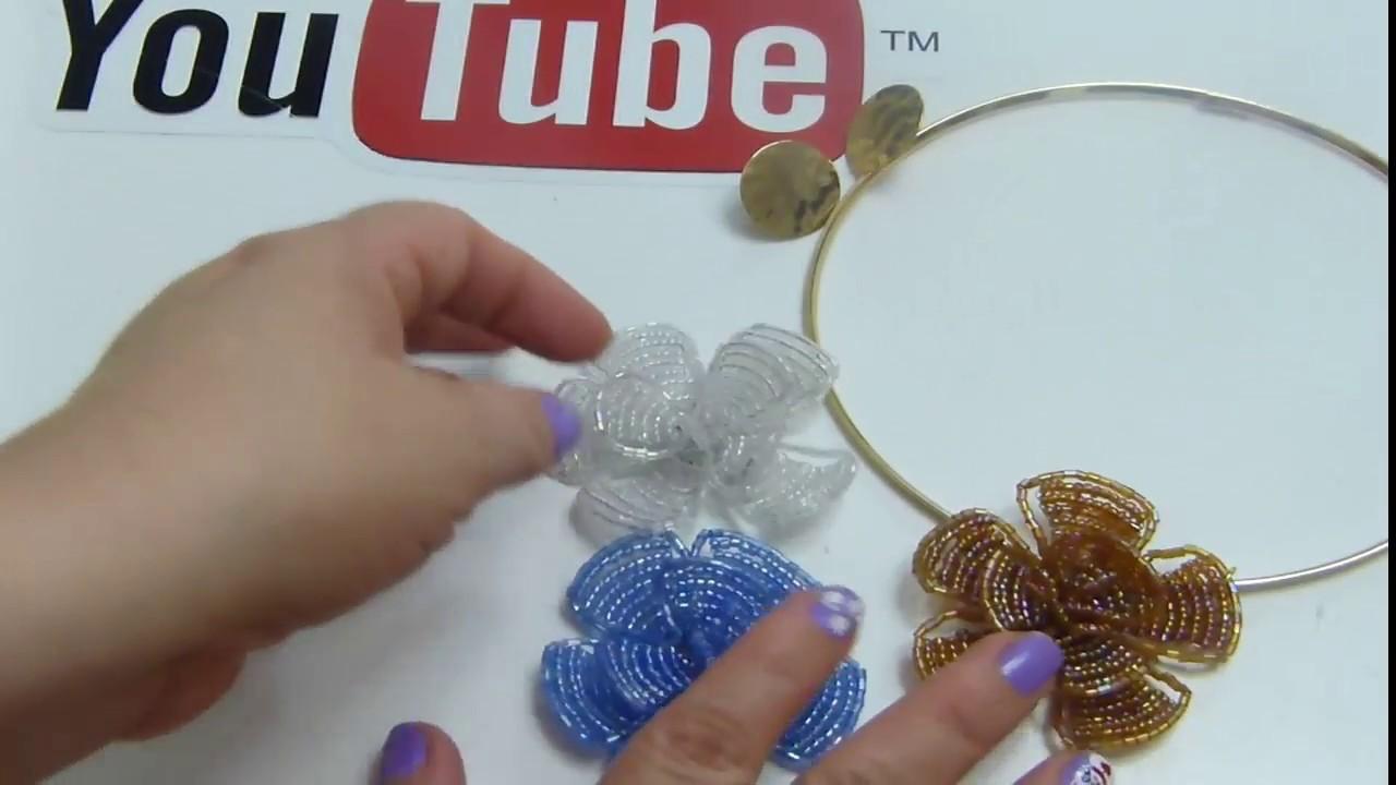 Como hacer flores de mostacilla para collares collares - Como hacer un cono ...