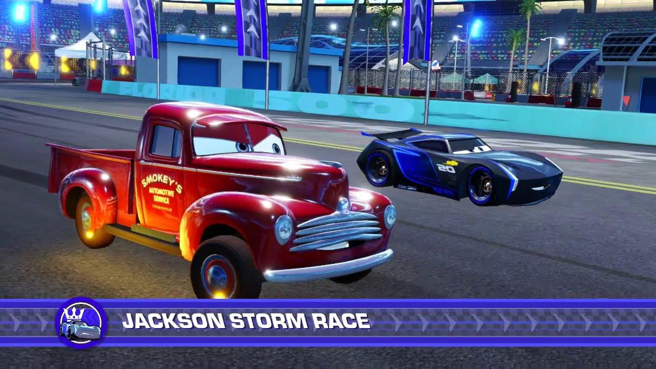 cars 3 driven to win ps4 smokey vs jackson storm. Black Bedroom Furniture Sets. Home Design Ideas