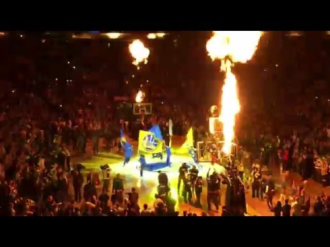Warriors Win 73 - Team Intro, Fireworks and Tipoff @ Oracle Arena, Oakland CA 4-13-16