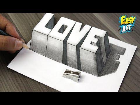 Como Dibujar AMOR 3D -  How to Draw LOVE 3D - Dibujos de Faciles - Easy Art