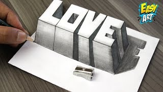 Como Dibujar AMOR 3D -  How to Draw LOVE 3D - Dibujos de Faciles - Easy Art