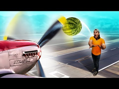 Throwing Things Into An AIRPLANE PROPELLER!!