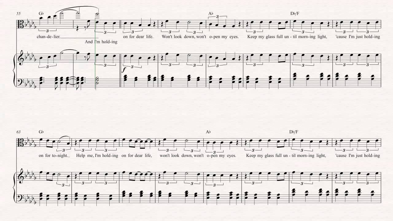 Viola chandelier sia sheet music chords vocals youtube aloadofball Image collections