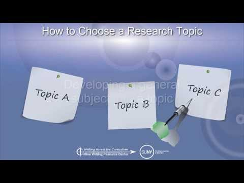Research Strategies, Lesson 1: How to Choose a Research Topic