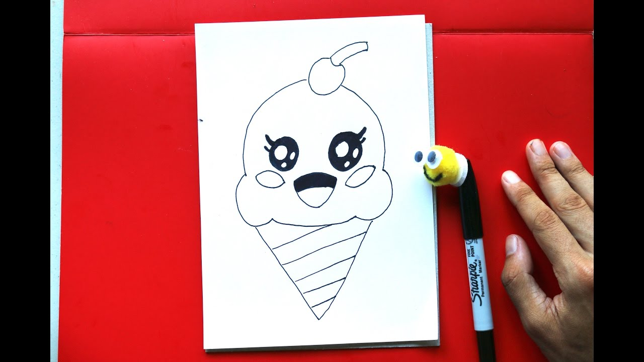 how to draw cute ice cream cone easy things to draw youtube