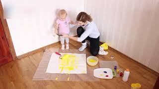 Урок рисования с ребёнком. Мой первый рисунок.(В видео рассказывается и показывается как можно в домашних условиях создать рисунок с годовалым ребёнком...., 2014-12-01T14:33:57.000Z)