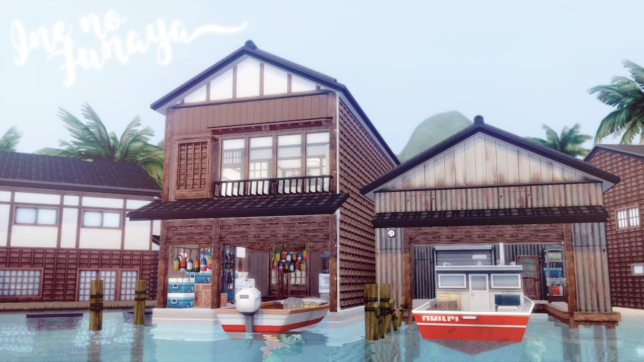 Ine no Funaya a Japanese Boathouse ⛵️ 🎣   The Sims 4 Snowy Escape   No CC + Download Links