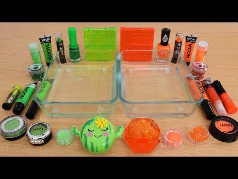 Green vs Orange - Mixing Makeup Eyeshadow Into Slime Special Series 208 Satisfying Slime Video thumbnail