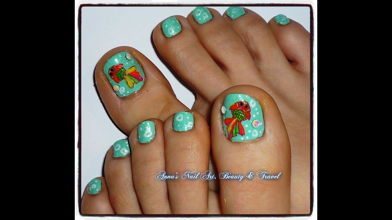 colorful fish toe nail design