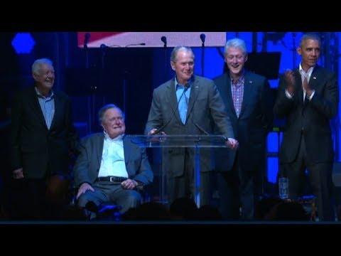 Former Presidents speak at relief concert