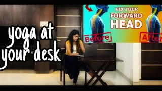 5 minute DESK YOGA for Better Posture | Get rid of neck pain & hunchback posture|| Easy way yoga