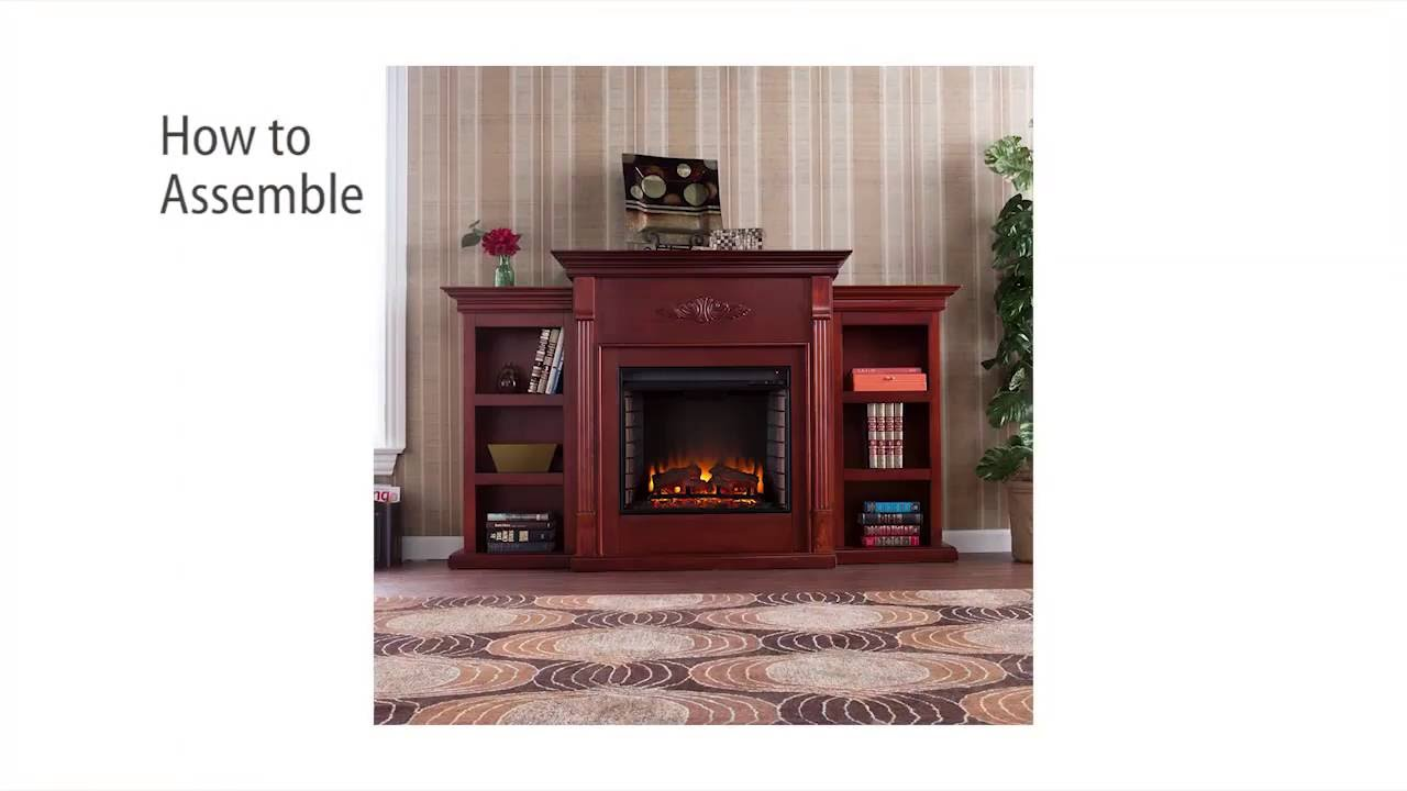 Tennyson Bookcase Electric Fireplace Fe8547 Tennyson Electric Fireplace W Bookcases Classic Mahogany Assembly Video