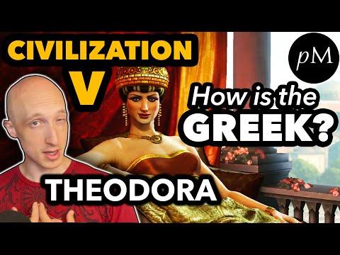Theodora's Greek: Civilization V. How is her pronunciation?