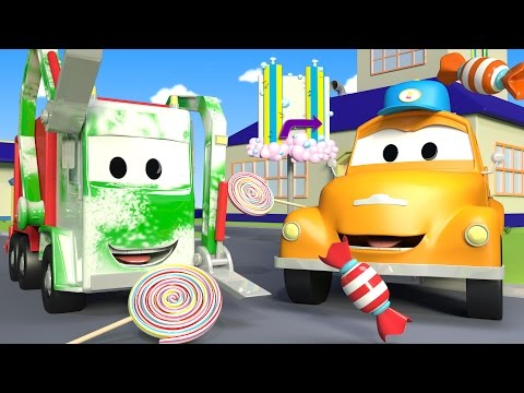 Tom the Tow Truck's Car Wash and Gary The Garbage Truck | Truck cartoons for kids