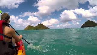 Kayaking to the mokes, Lanikai beach Hawaii