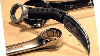 How to Make: RAZOR SHARP Knife From a Wrench (Karambit) thumbnail