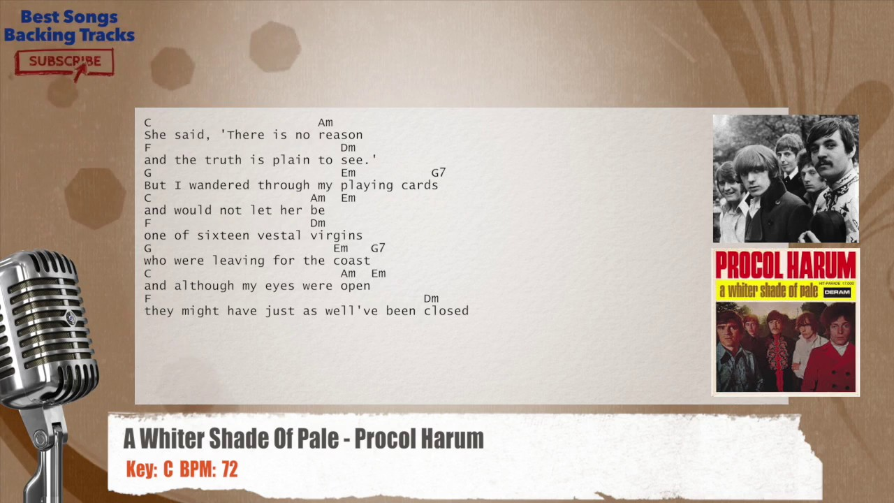 A whiter shade of pale procol harum vocal backing track with a whiter shade of pale procol harum vocal backing track with chords and lyrics hexwebz Choice Image