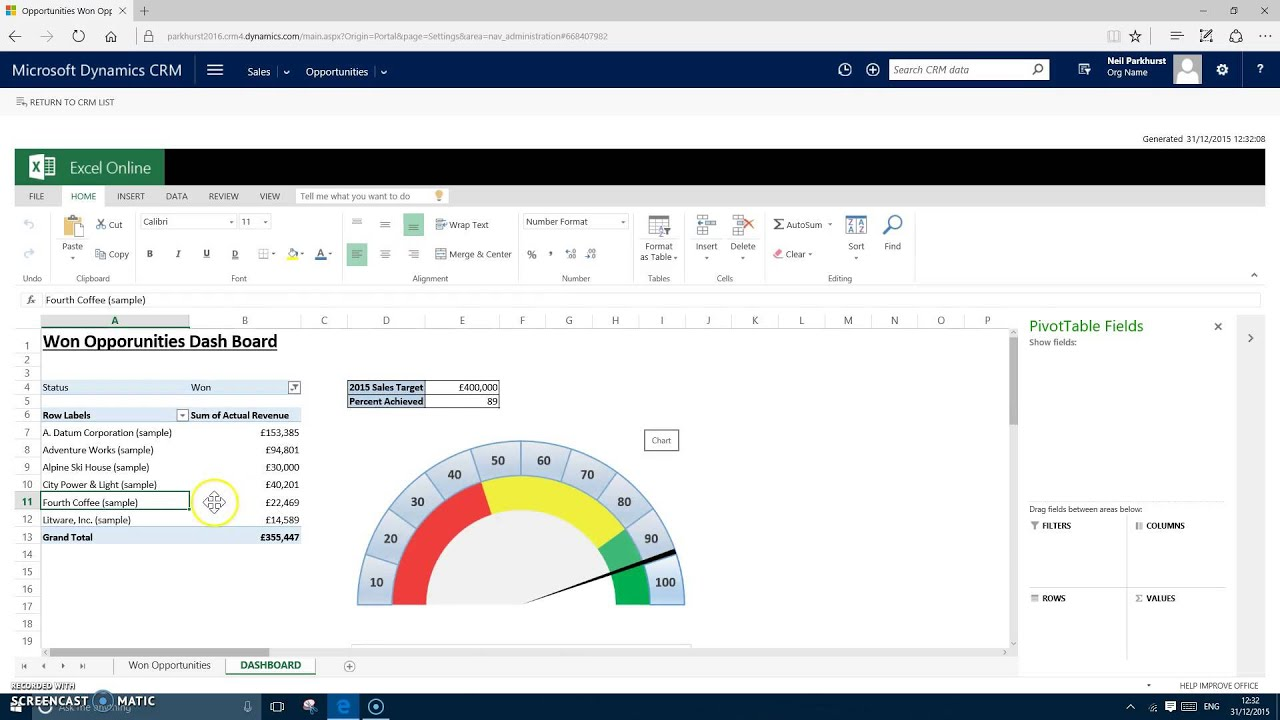 Demo : CRM 2016 Excel Templates - YouTube