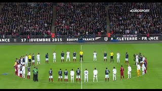 A minute of silence on the wembley in the match England : France