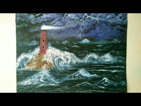 Night view Light house Painting || Light house in a Storm || Acrylic Painting step by step ||