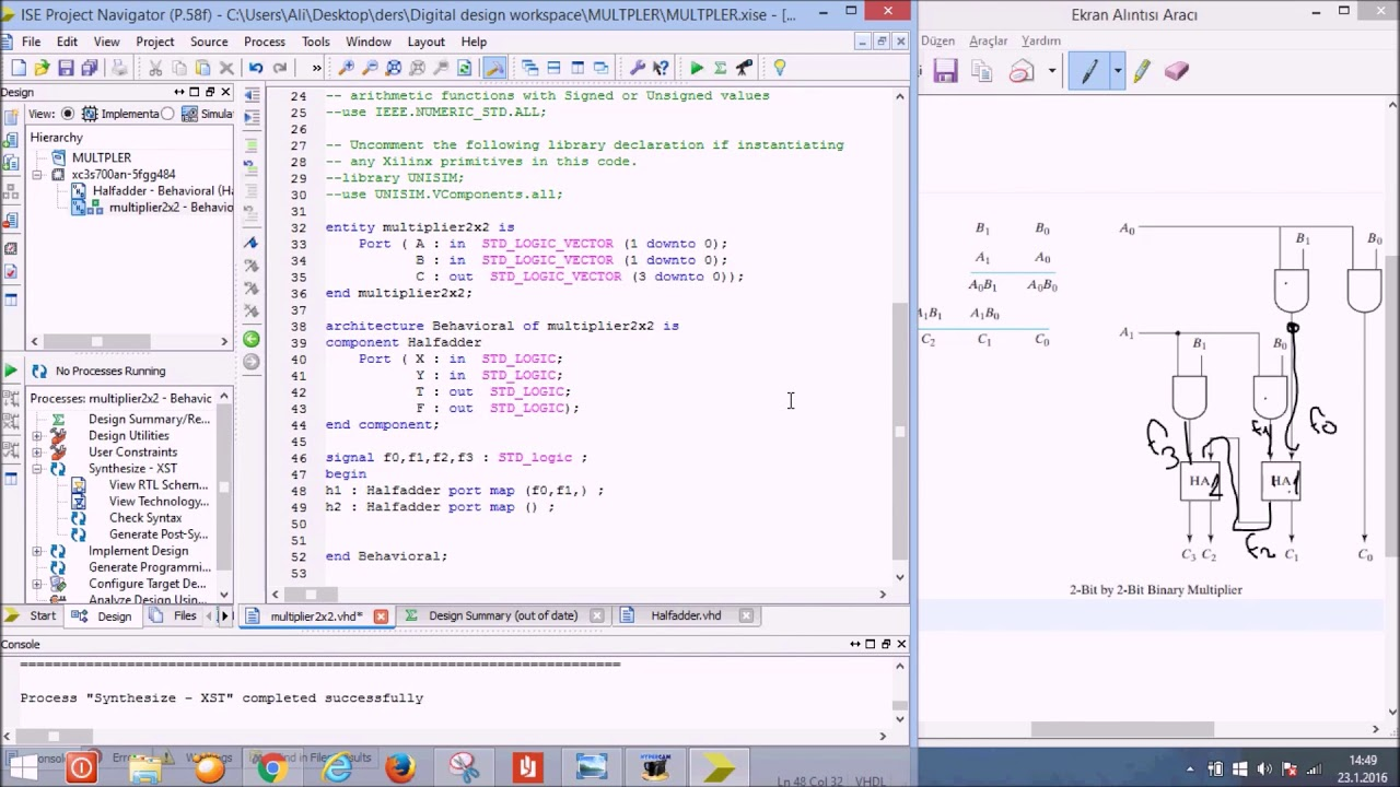 Design 2x2 binary multiplier in VHDL Using Xilinx ISE Simulator