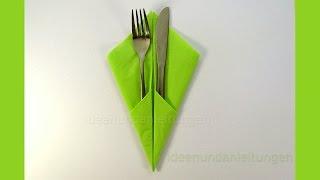 Repeat youtube video Bestecktasche falten - Servietten falten Ostern  - Einfache DIY Tischdekoration selber machen