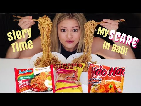 Indonesian Instant Noodle + Prawn Crackers Review (Mukbang 먹방) -- Bali Storytime!