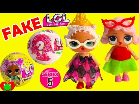 LOL Surprise Dolls Fake vs. Real Series 5 Glitter and Confetti Pop