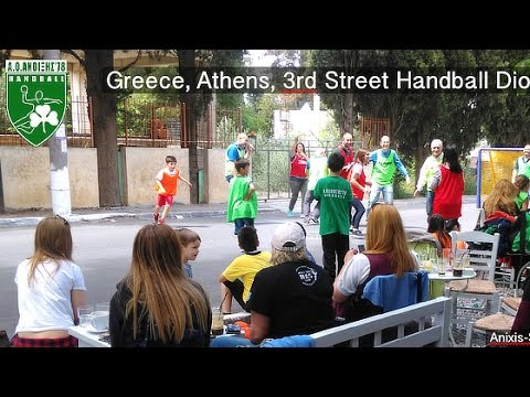 Greece, Athens, 3rd Street Handball Dionysos Event at Anixis-Stamata Avenue in Anixi Square