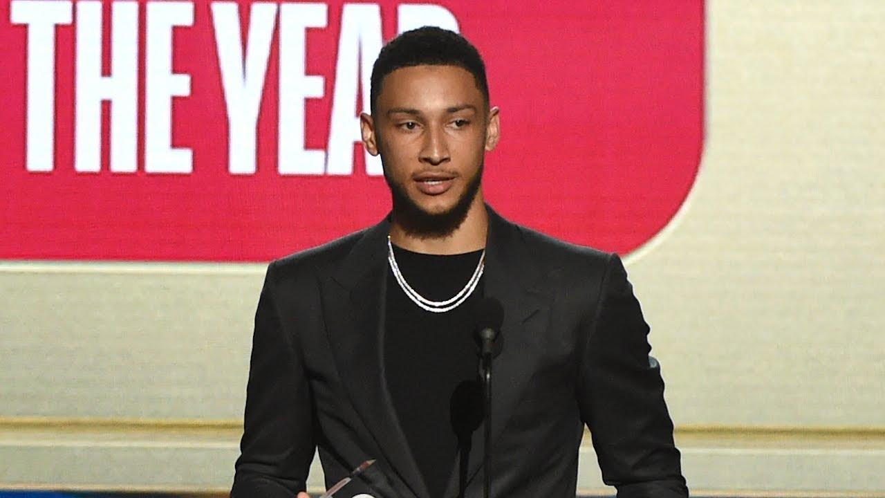 Ben Simmons Wins Rookie of the Year Award - 2018 NBA Awards - YouTube 4cbb8d20f