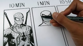 DRAWING SPIDERMAN in 10 MINUTES, 1 MINUTE & 10 SECONDS!