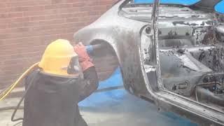 Sandblasting a Porsche 911