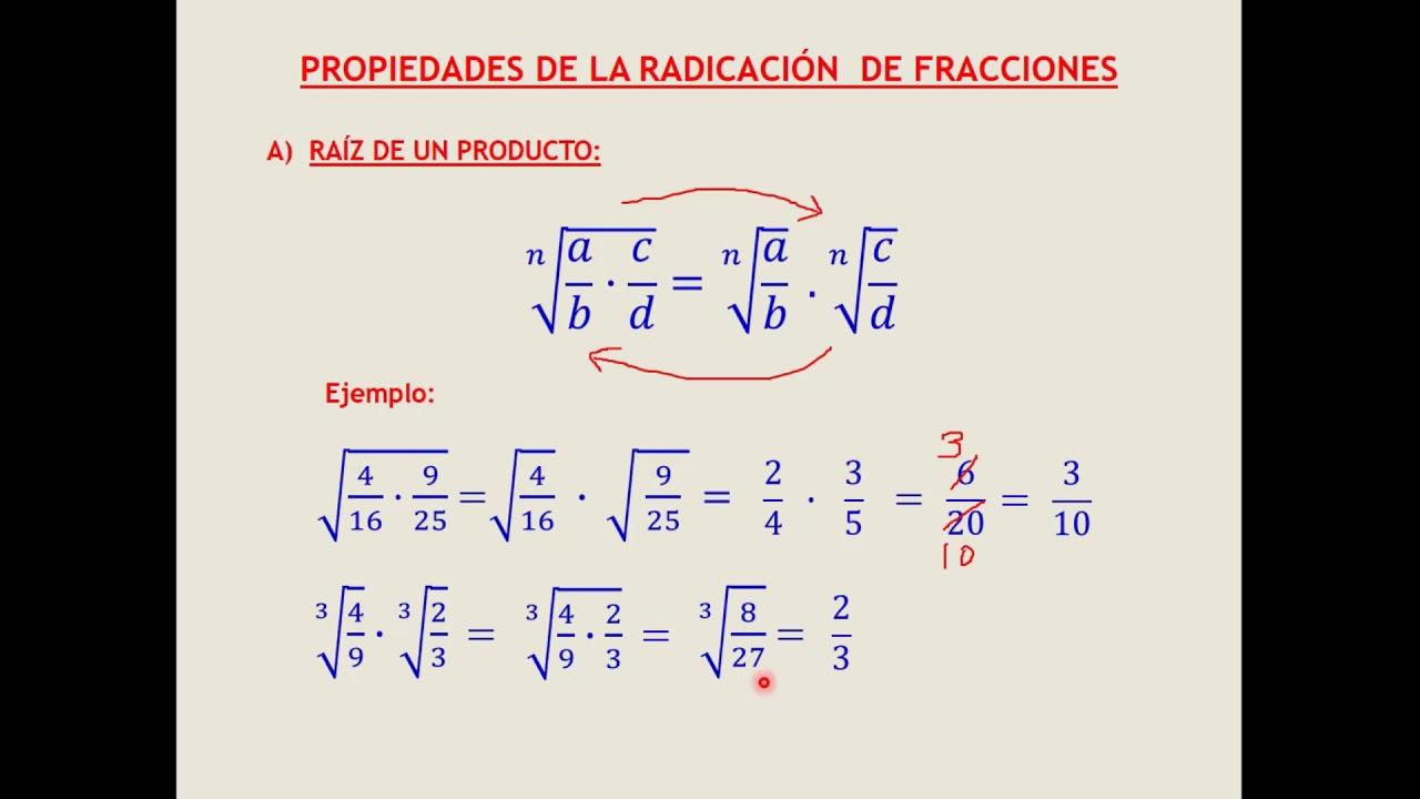 Radicacion De Fracciones O Numeros Racionales Youtube