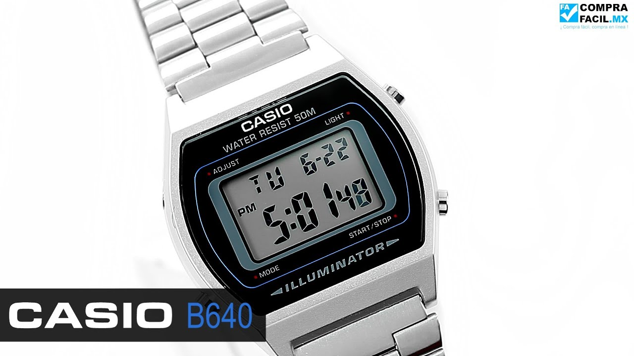 5e4b950d014 Reloj Casio Retro Vintage B640 Plata - www.CompraFacil.mx - YouTube